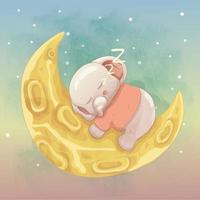 schattige babyolifant slapen op de maan