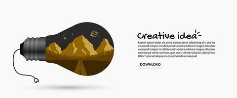 creatief idee landschap binnen gloeilamp