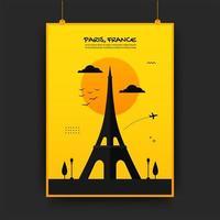 Frankrijk reizende poster in geel en zwart
