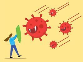 meisje gebruikt schild om te beschermen tegen coronavirus