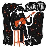 hand getrokken man palying akoestische gitaar