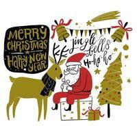 hand getrokken kerstseizoen santa en herten