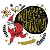 hand getrokken santa die een groot cadeauzakje draagt