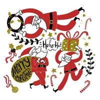 hand getekende kerstman in verschillende houdingen