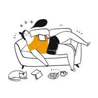 hand getekende vrouw in slaap op de sofa