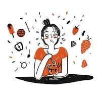 hand getekend meisje eten van ijs vector