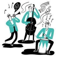 hand getekende groep muzikanten die instrumenten spelen