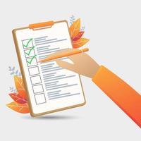 hand met potlood op checklist vector