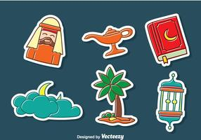 Arabische Handgetekende Sticker Collection vector