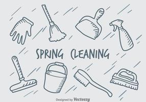 Hand getekende lente schoonmaken vector set