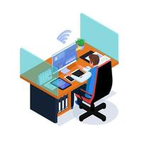 zaken man aan het werk in de werkruimte op internet