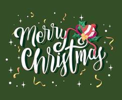 vrolijk kerstfeest belettering en confetti vector