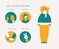 non-contact groeten infographic vector