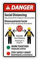 '' gevaar '' tweetalig '' sociale afstand '' constructie bord