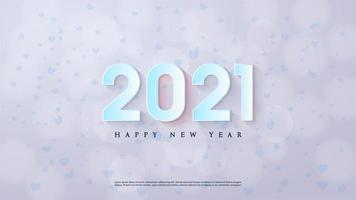 Gelukkig Nieuwjaar achtergrond 2021 met 3D-blauwe cijfers