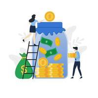moderne flat geld besparen illustratie concept