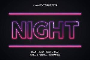 nacht bewerkbaar teksteffect vector