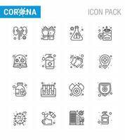 lijnstijl coronavirus icon pack inclusief ontsmettingsmiddel