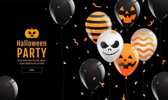Halloween party design met ballonnen vector