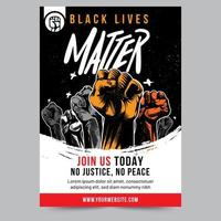 black lives matter verhoogde vuist flyer