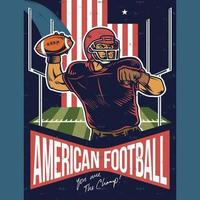 vintage poster van American football-speler bal gooien vector