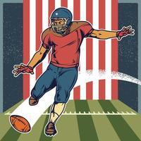 retro Amerikaanse voetballer bal schoppen vector