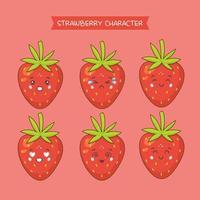 schattige aardbeien tekenset vector