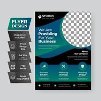blauwe en groene sjabloon voor zakelijke flyer