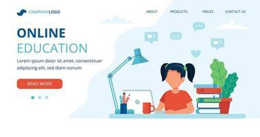 online onderwijs bestemmingspagina met meisje studeren vector