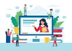 online onderwijsscherm met leraar, boeken en potloden