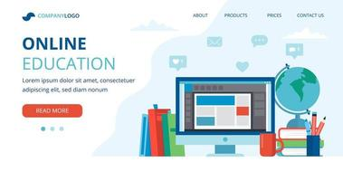 online onderwijsconcept met computer, boeken en bol