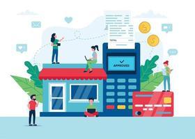 winkelen online concept met pos-terminal