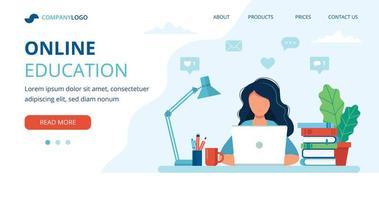 online onderwijsconcept met een vrouw die studeert vector