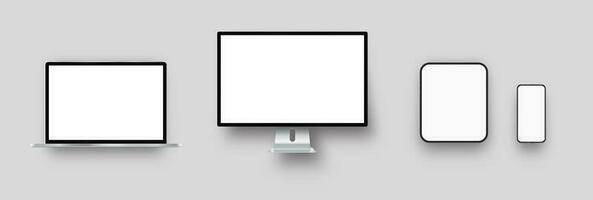 mockups voor blanco telefoon, computer en tablet vector