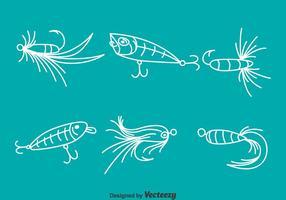Witte lijn vissen aas vector