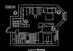 Huis Vloerplan Ontwerp vector