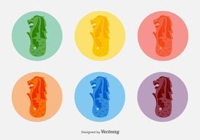 Afgeronde Merlion Vector Stickers