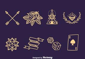 Oude School Line Tattoo Collection Vector