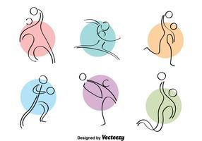 Handbal Kleurrijke Pictogrammen