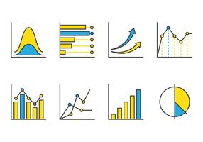 Bell curve line icons vector