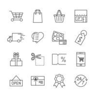 e-commerce lijn iconen voor webwinkel web of mobiel