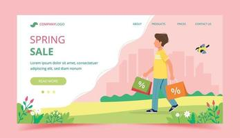 man met boodschappentassen lente verkoop concept vector