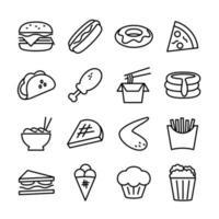 lijn icon set van fast food