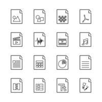 set van fundamentele bestandsextensie iconen met visuele symbool vector