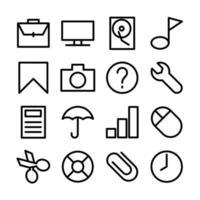 lijn icon set van besturingssysteem gebruikersinterface vector