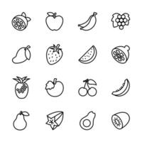 lijn icon set populair fruit