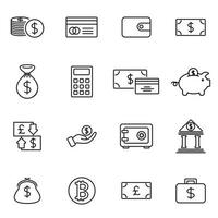 economische icon set bewerkbare lijn omtrekstijl vector