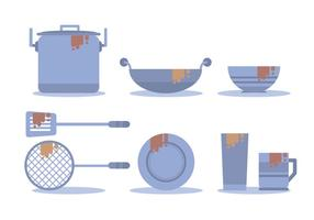 Vuile Dishes Vector Set