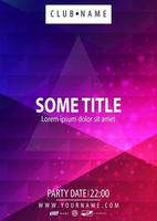 blauwe en roze feestaffiche met veelhoekige geometrische textuur vector