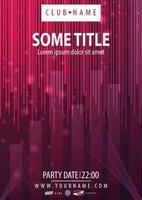 roze partij poster met abstracte lineaire vormen vector